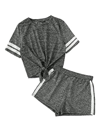 052f88dadcc300 SweatyRocks Women s Short Sleeve 2 Piece Outfit Round Neck Tee with Shorts  Set Grey XS