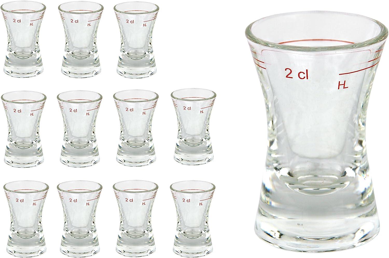 4/CL in uno stamper Double Shot in Vetro VAN WELL Set bicchiere liquore Dublino con tacca del doppio geeichtes Liquore Vetro con riempimento 2/CL trasparente hochglaenzendes marca vetro