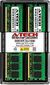 A-Tech 2GB (2x1GB) DDR2 667MHz DIMM PC2-5300 1.8V CL5 240-Pin Non-ECC UDIMM Desktop RAM Memory Upgrade Kit