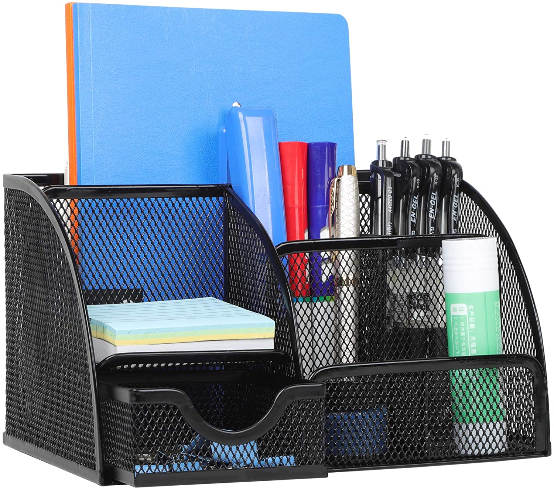 Office Supplies Desk Organizer Caddy with 6 Compartments + 1 Sliding Drawer, Desk Essentials to Collect Desk Accessories, Mesh Desktop Organizer for Home, Classroom, School, College Dorm [Black]