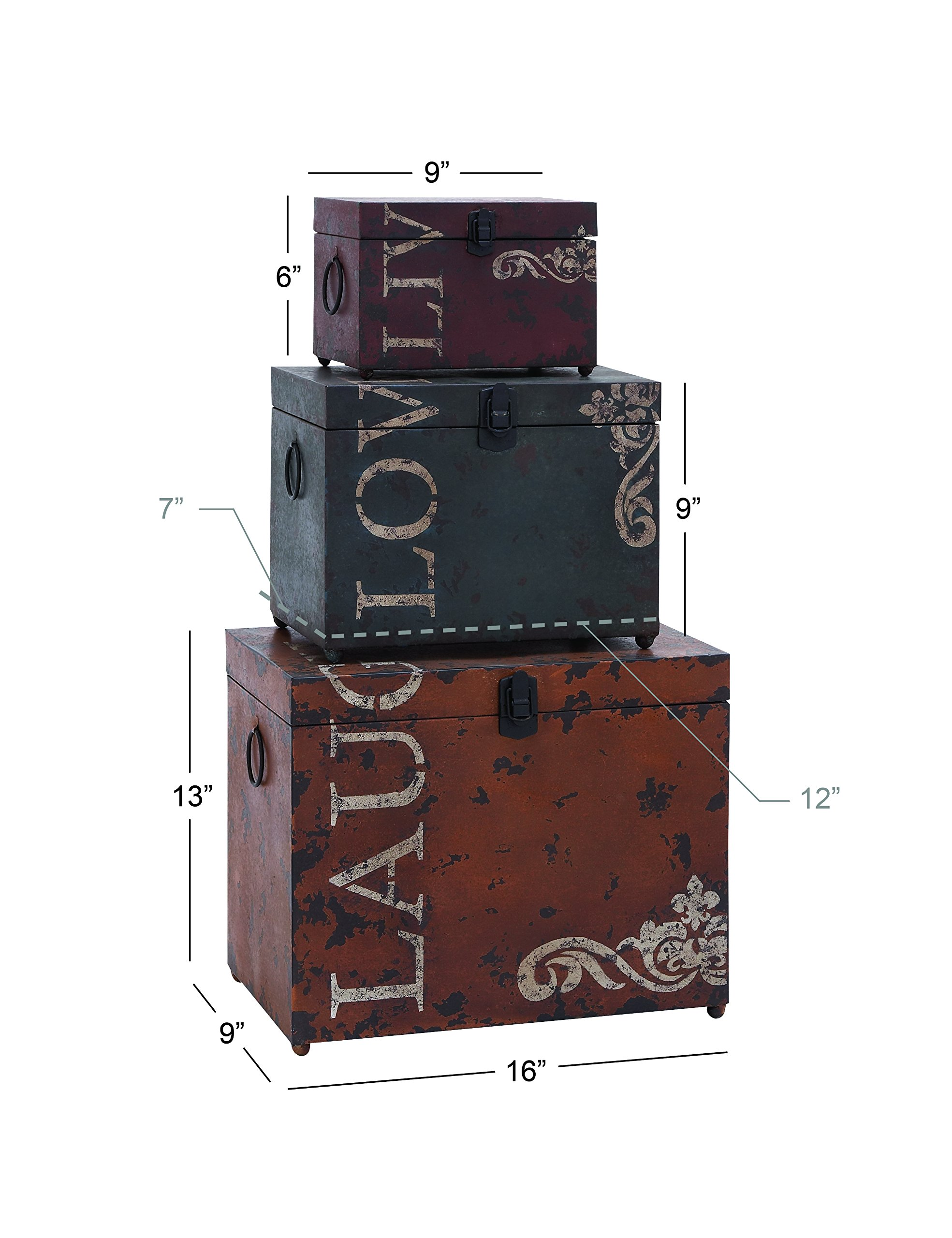 Deco 79 53854 Metal Trunks (Set of 3), 16''/12''/9'' by Deco 79 (Image #2)
