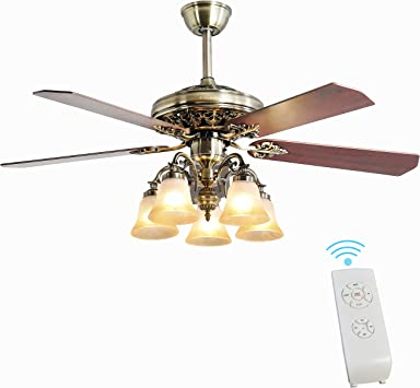 Indoor Ceiling Fan Light Fixtures Finxin New Bronze Remote Led 52 Ceiling Fans For Bedroom Living Room Dining Room Including Motor 5 Light 5 Blades Remote Switch New Bronze Amazon Com