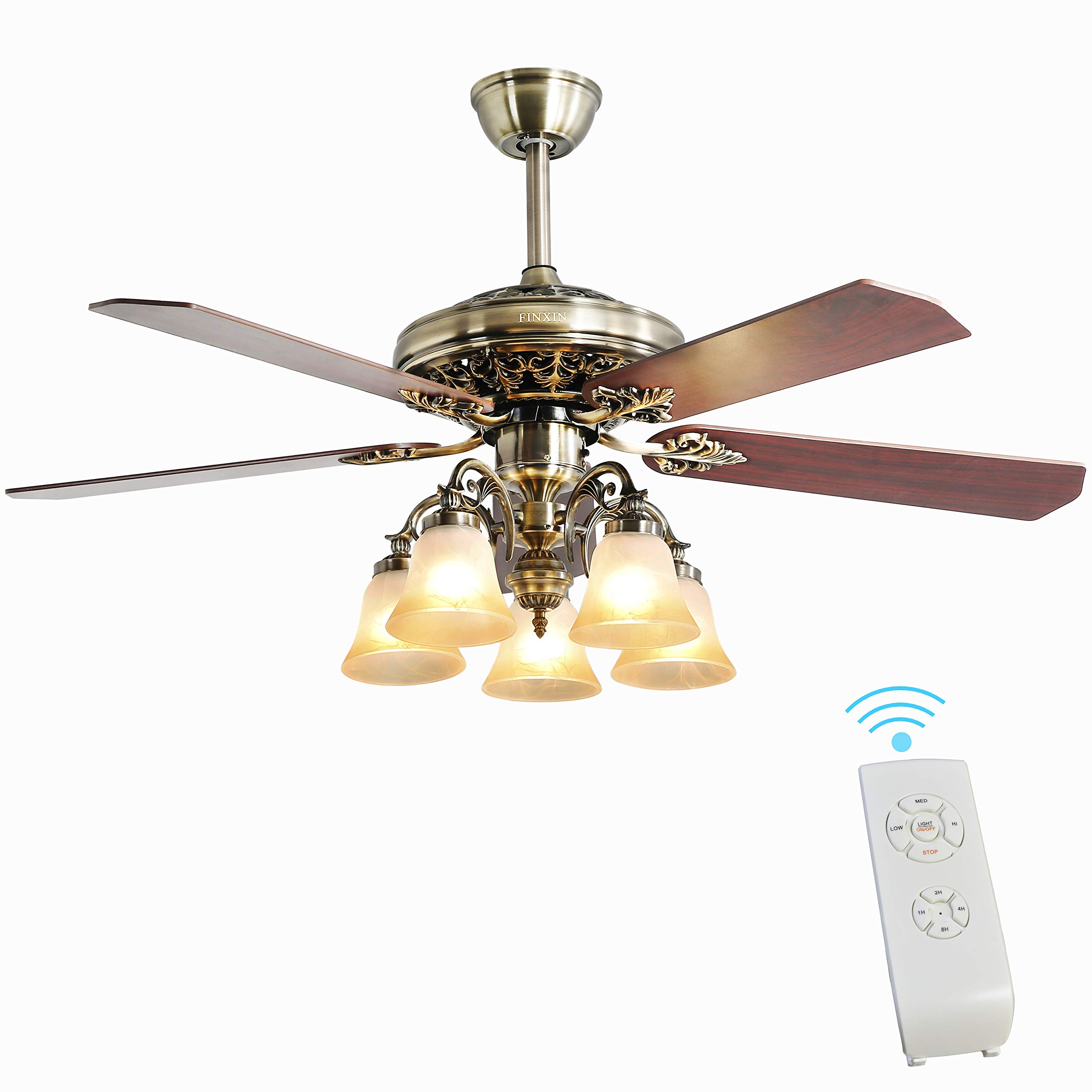 Indoor Ceiling Fan Light Fixtures - FINXIN New Bronze Remote LED 52 Ceiling Fans For Bedroom,Living Room,Dining Room Including Motor,5-Light,5-Blades,Remote Switch (New Bronze)