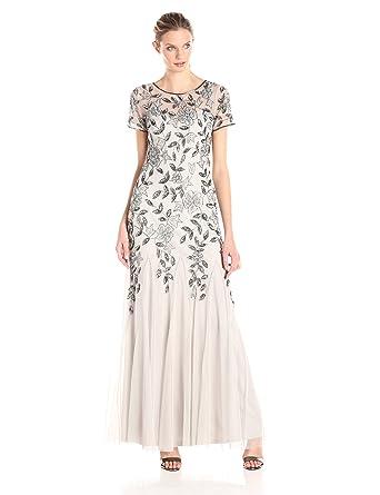 Adrianna Papell Women Floral Beaded Godet Short Sleeve Dress Amazon