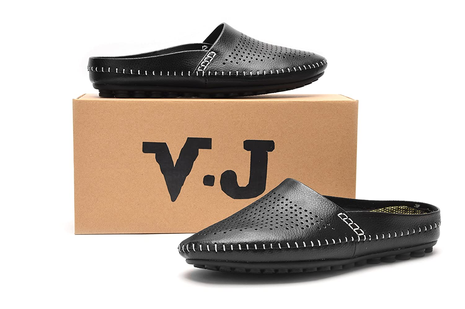 367a3747573342 Amazon.com | V.J Men's Classic Handsewn Genuine Leather House Slippers  Office Slippers Casual Breathable Sandals | Sport Sandals & Slides