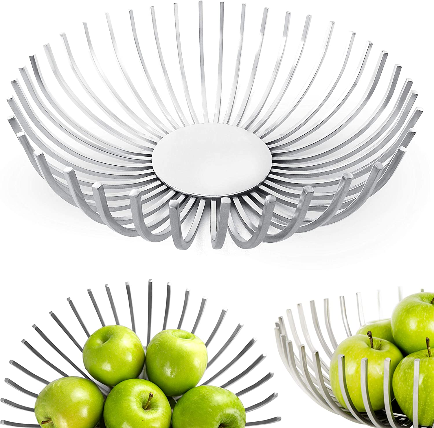 """RESONARA Decorative Fruit Bowl 10"""", Stainless Steel Fruit Basket for Kitchen Counter, Stylish Centerpiece Bowl for Dining Room Table, Artisan Home Decoration for Living Room, Modern Coffee Table Décor"""