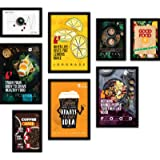 FATMUG Framed Wall Paintings for Room Home Decor - Food Posters (Glass, Multicolour) - Set of 8