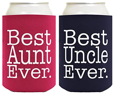 gut aus x Super Specials suche nach authentisch Best Aunt and Uncle Ever Gift Set 2 Pack Can Coolies Drink Coolers Magenta  and Navy