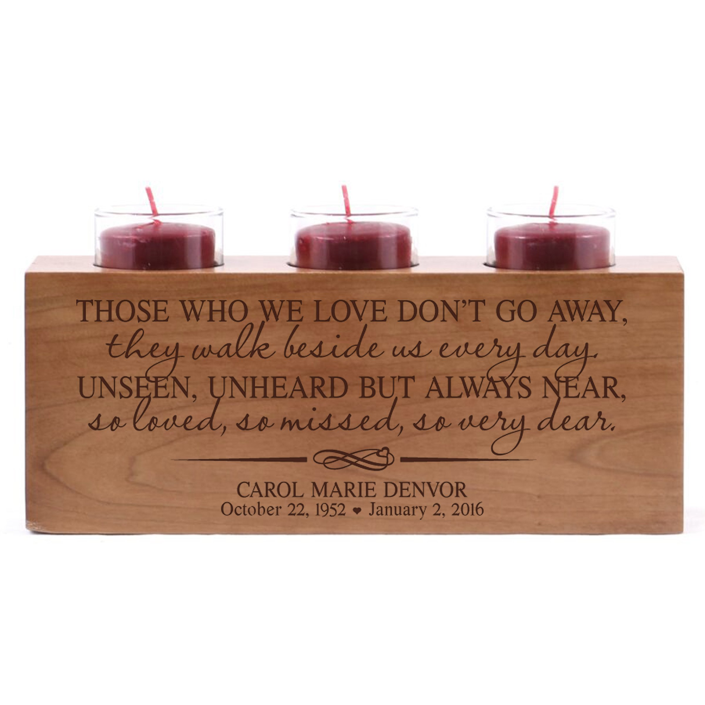 Personalized Those Who We Love Don't Go Away Memorial Sympathy Candle Holder Custom Engraved Cherry Wood Keepsake Ideas for Loved One 10'' L x 4'' H by LifeSong Milestones (Those We Love) by LifeSong Milestones