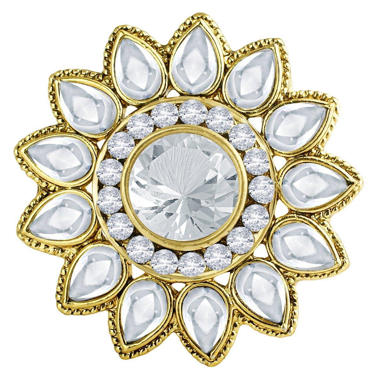 Spargz Women's Antique Wedding Octagon Stone Adjustable Finger Ring Gold