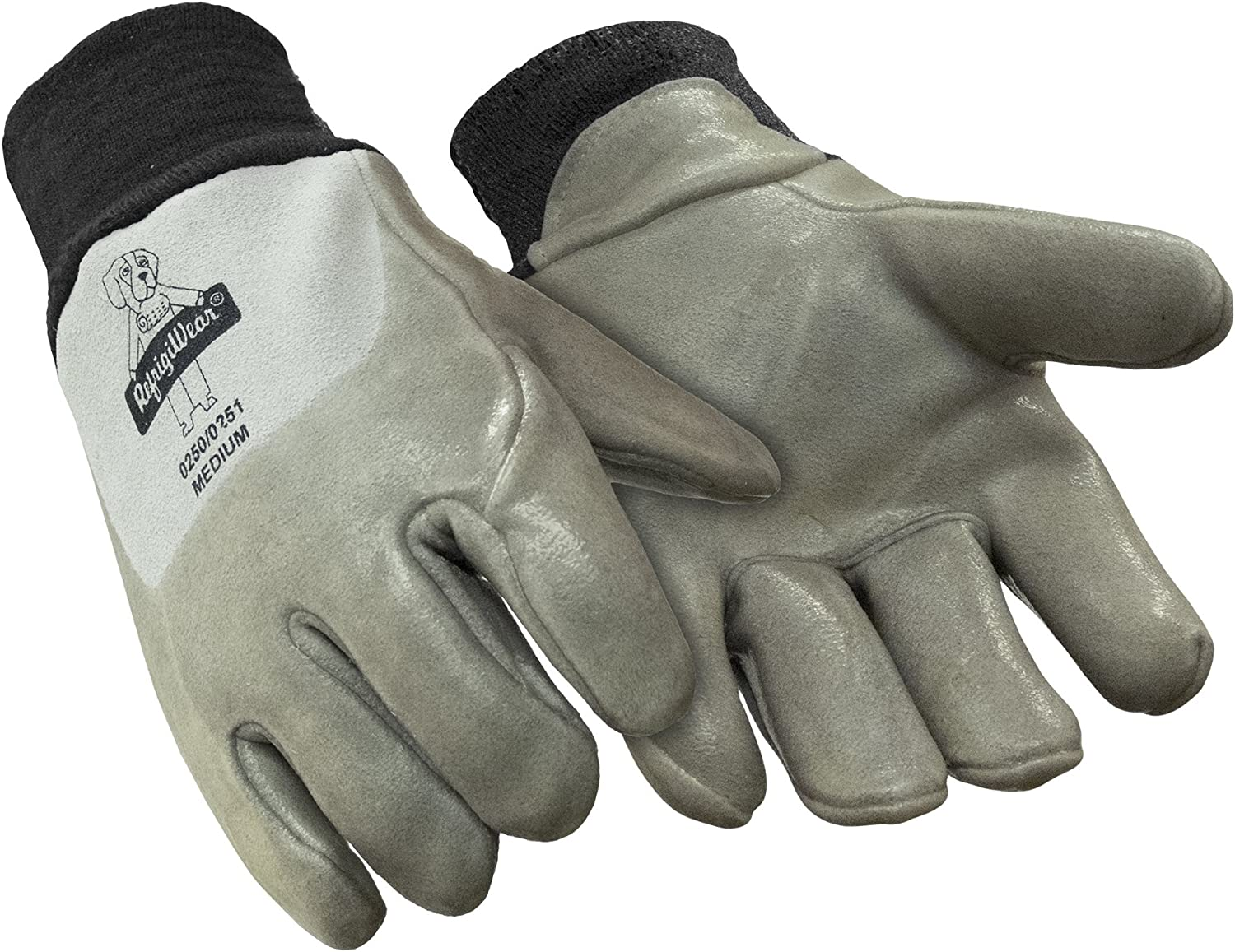 RefrigiWear Insulated Fleece Lined Deerskin Leather Gloves with Nitrile Coating