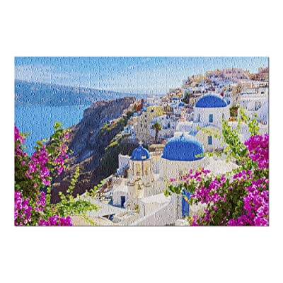 Santorini Island, Greece - Beautiful Seaside View 9027939 (Premium 500 Piece Jigsaw Puzzle for Adults, 13x19, Made in USA!): Toys & Games