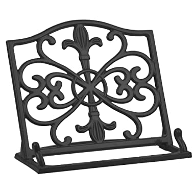 Home Basics Cast Iron Fleur De Lis Cookbook Stand, Black