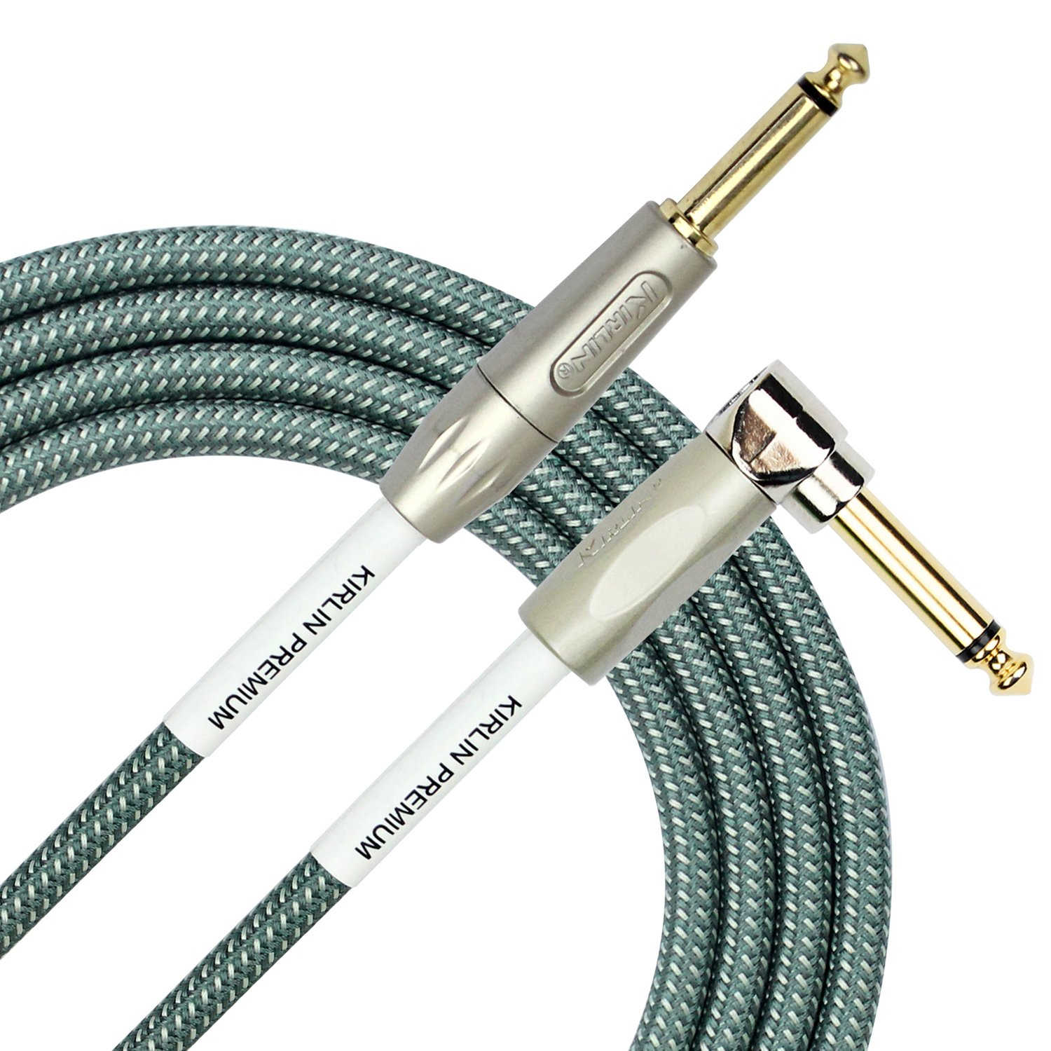Kirlin Cable IWB-202PFGL-10/OL -10 feet- Straight to Right Angle 1/4-Inch Plug Premium Plus Instrument Cable, Olive Green Tweed Woven Jacket KIRLIN INDUSTRIES INC.