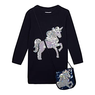 713322c21 bluezoo Kids Girls  Navy Unicorn Sequinned Tunic with A Bag 12-18 ...