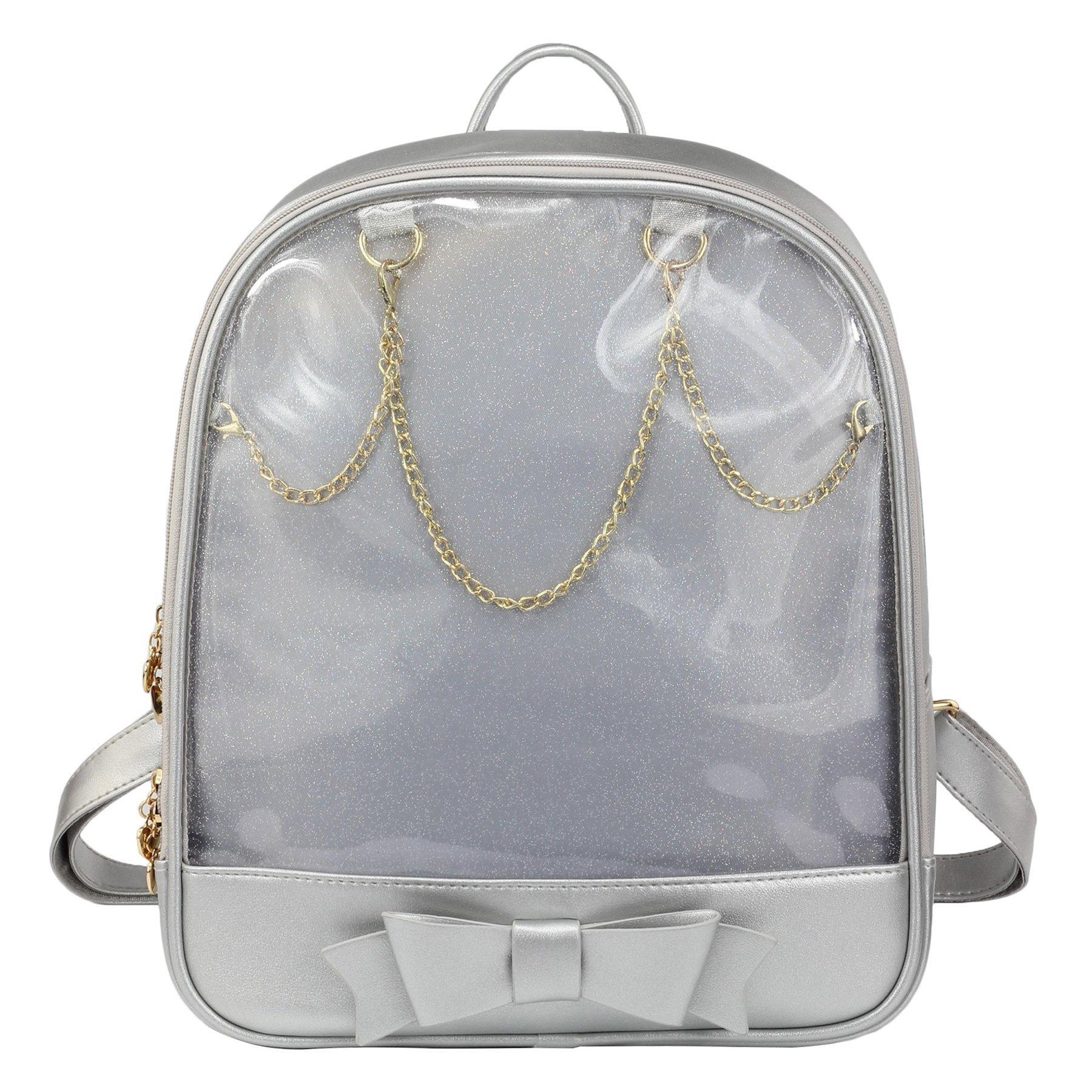 SteamedBun Ita Bag Candy Leather Backpack Bowknot Transparent Beach Girls School Bag Silver
