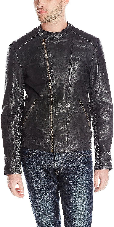 Men Slim Fit Biker Motorcycle Lambskin Leather Jacket Coat Outwear Jackets T1246