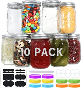10 PACK Glass Mason Jars 12 oz, Regular Mouth Canning Jars with Metal Airtight Lids and Bands, Extra Leak-Proof Colored Lids, Chalkboard Labels and Marker, for Meal Prep, Food Storage, Canning, Preserving, Drinking, DIY Projects