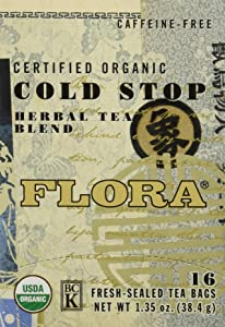 Flora Cold Stop Tea 16 Teabags - Organic Herbal Tea for Cold & Flu Symptom Relief - Non GMO & Caffeine Free