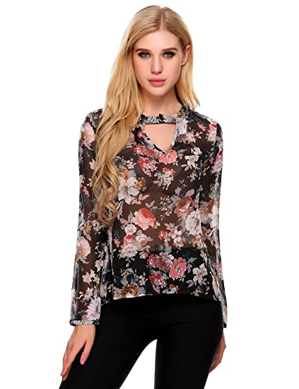 dd8c8eb6a63 Image Unavailable. Image not available for. Color  Women Sexy Keyhole  Vintage Floral Print Long Sleeve Chiffon Shirt Blouse Tops