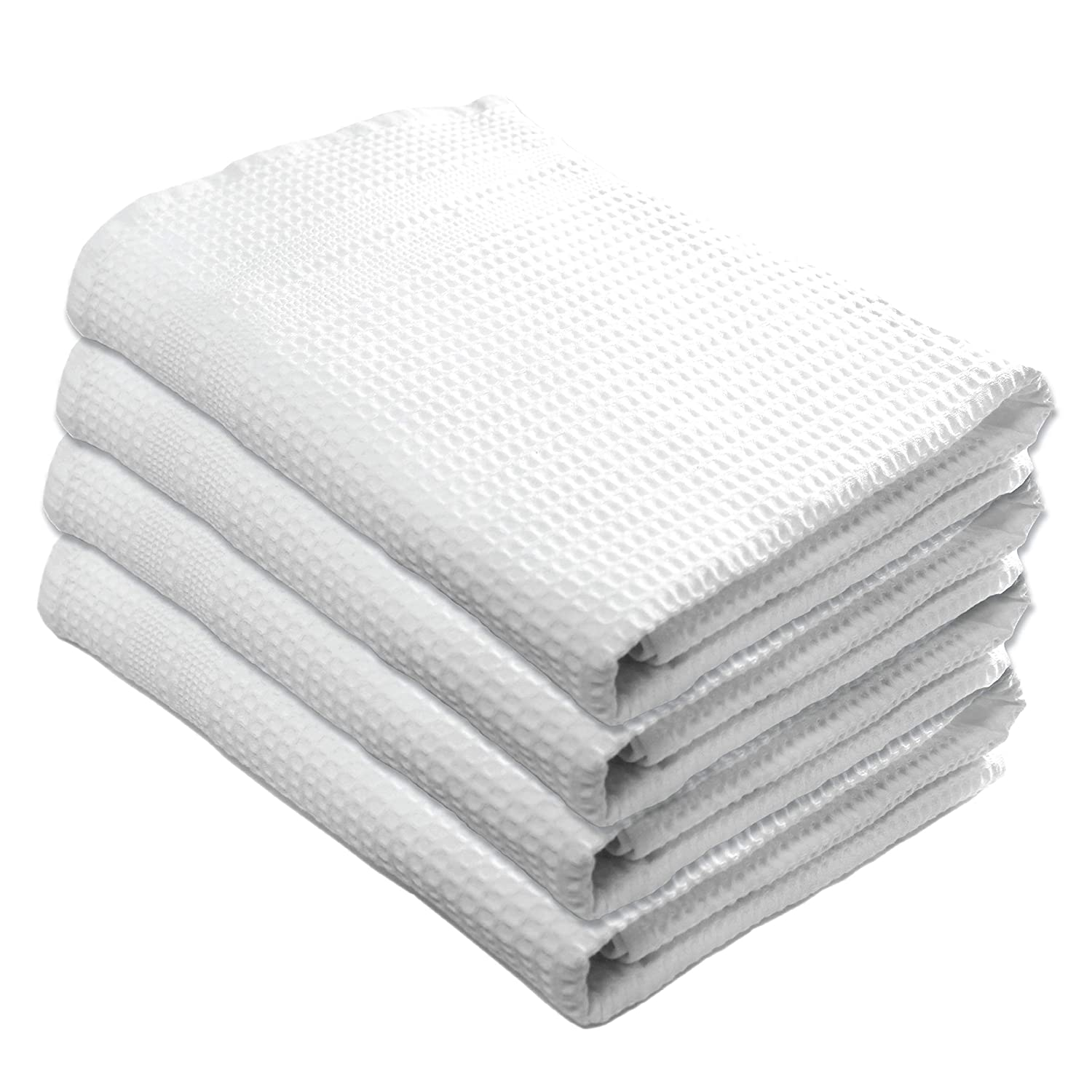 Gilden Tree Premium Bath Towels 4 Pc Set 100% Natural Cotton Quick Dry Waffle Weave Lint Free Soft Luxurious Fabric Solid Colors Oversized Thin Cloth Fade Resistant (White)