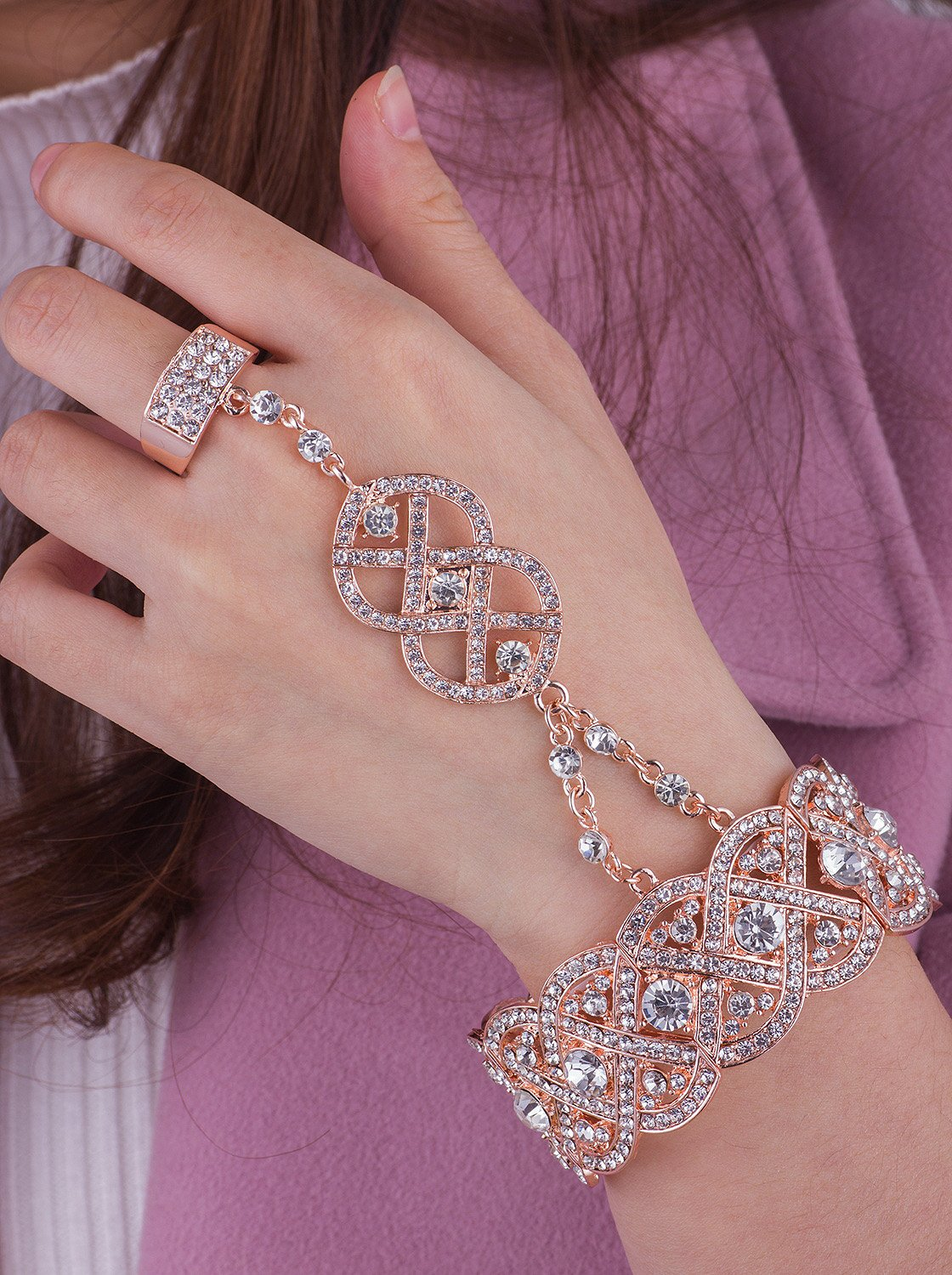 Vijiv Gold 1920s Flapper accessories Bracelet Ring Set Great Gatsby Style 20s Jewelry For Party by Vijiv (Image #2)