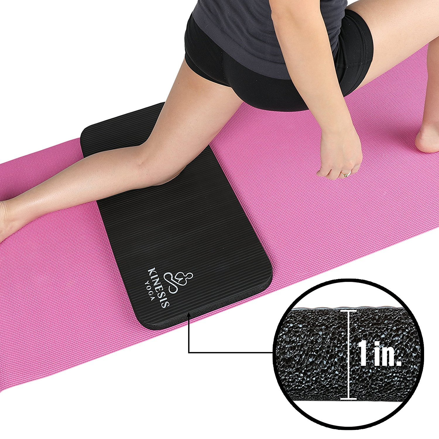 Kinesis Yoga Knee Pad Cushion - Extra Thick 1 inch (25mm) for Pain Free Yoga! Fits Standard Full Sized Yoga Mat and Comes with Velcro for Easy Travel and Storage! by Kinesis Yoga