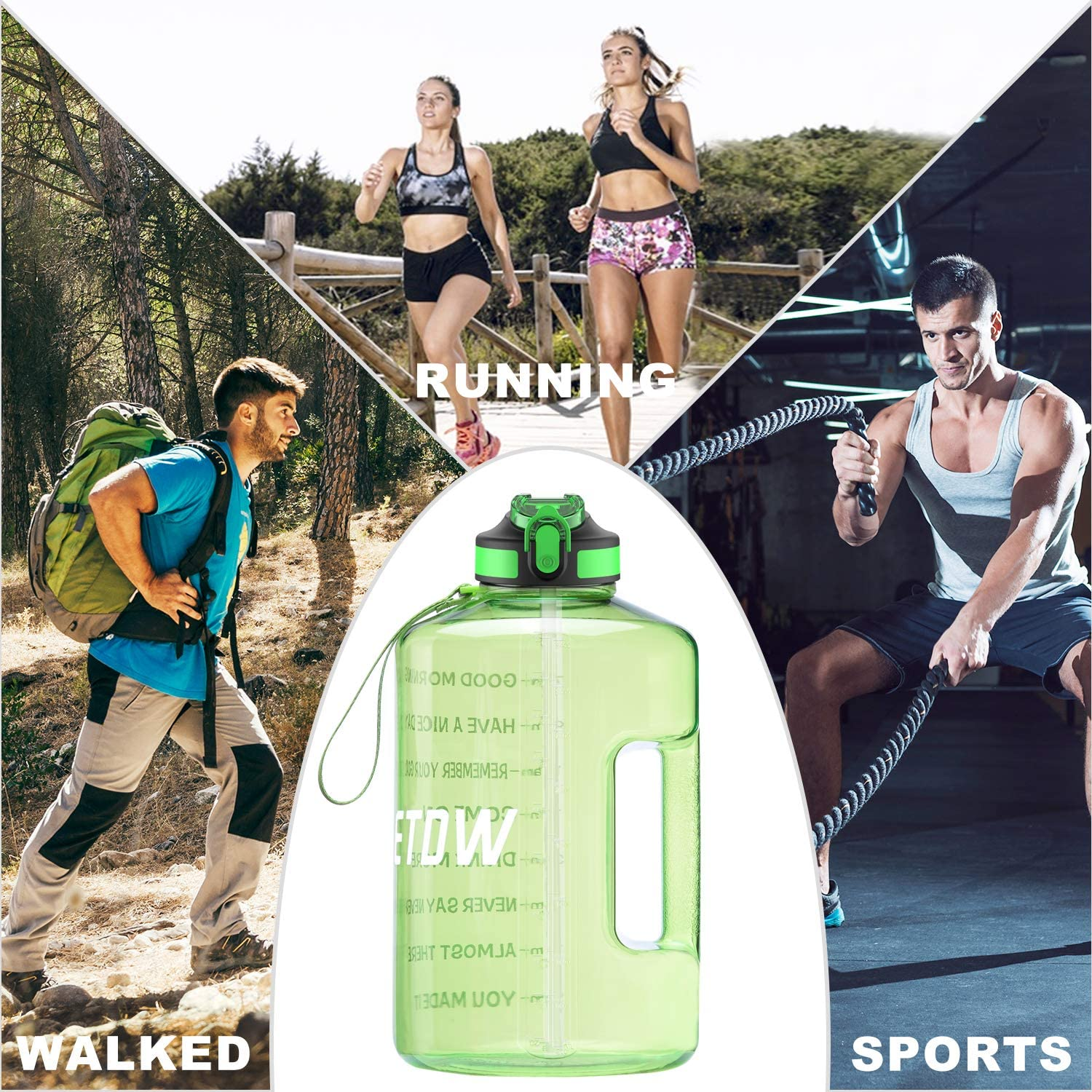 128oz BPA Free Sport Water Jug with Straw Clean Brush Leak Proof Daily Water Intake Bottle Click Pop Up ETDW Gallon Water Bottle with Time Marker