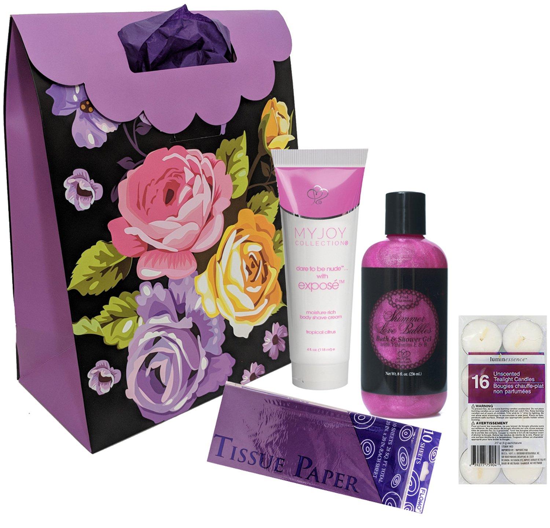 0fd4a36fc0f Amazon.com  Bubble Bath Set with Shea Moisture Shave Cream for Women with  Purple Gift Bag