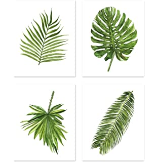 amazon com set of 3 tropical leaves watercolor art prints by