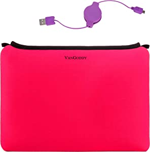 Retractable Charge Cable and 13.3 Inch Laptop Sleeve for Toshiba Portege A30 D1300ED, X30 D1352, X30 D1354, X30 D1356, X30 E1320, X30 E1322, X30 E1324, X30 E1326, X30 E1346, X30T E3142, X30T E3144