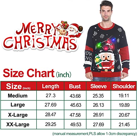 3D Christmas Tree Nutcrackers Ugly Sweater Knit Holiday Funny Sweatshirt GBD Light Up Men/'s Christmas Sweater