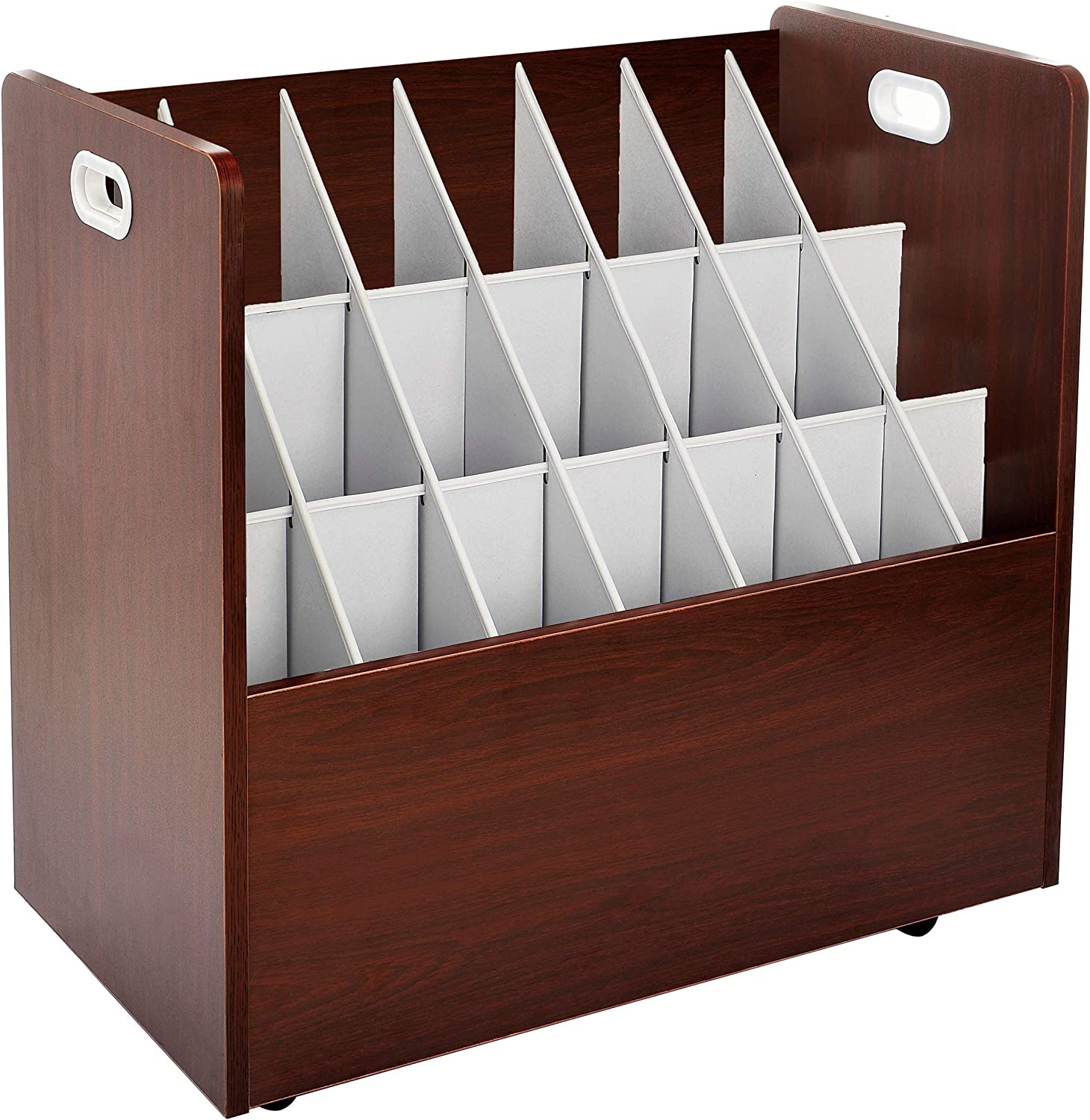 AdirOffice Mobile Wood Blueprint Roll File - Sturdy, Heavy Duty Large Document Organizer - Convenient Storage for Home Office or School Use (21 Slots, Mahogany)