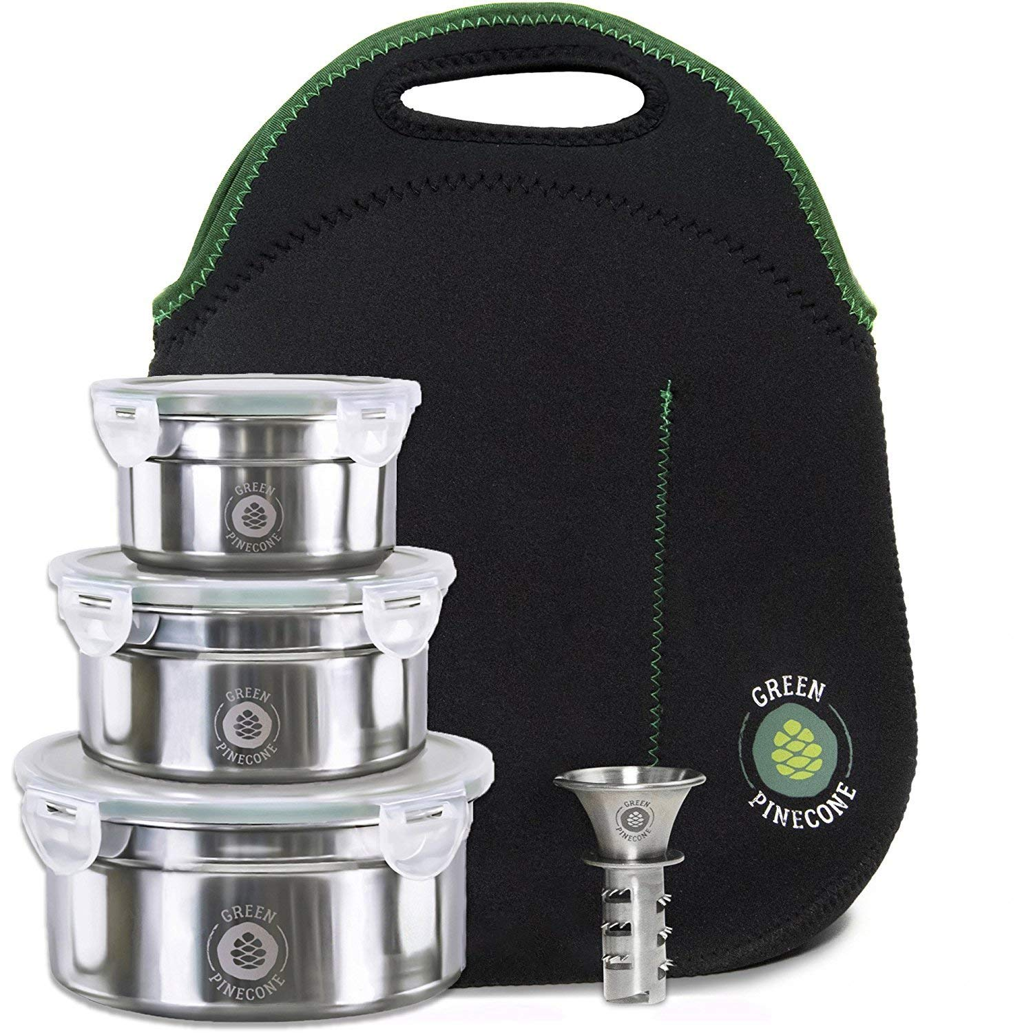 Leakproof Stainless Steel Lunchbox Set. 3 Stackable Metal Containers & Thermal Bag. Men Women Girl Boy. Keep Food Warm. Cool Salad. Work & School. Leak Proof Storage. Large & Small Tins. 2 BONUSES. by GREEN PINECONE