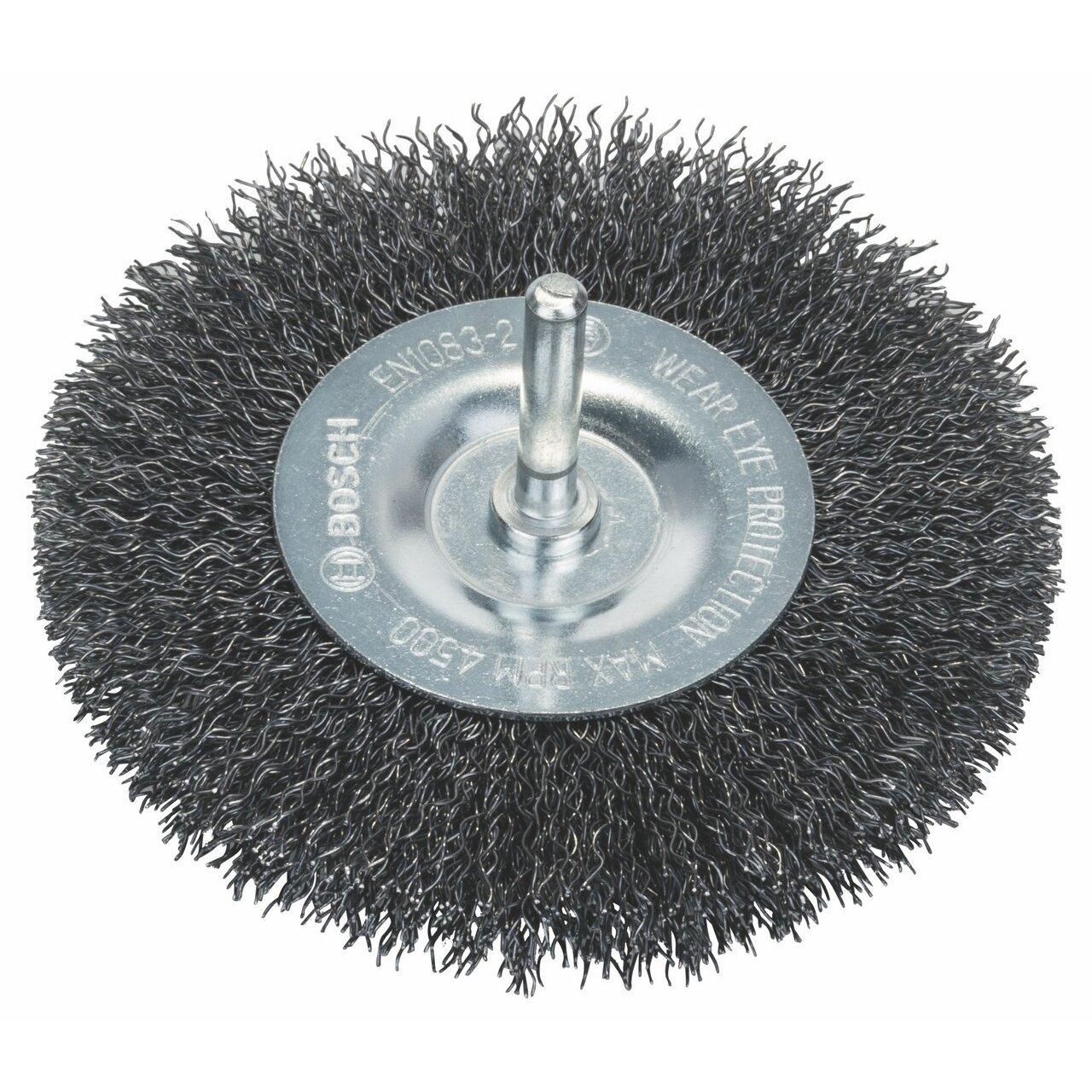Bosch 1609200273 6mm Shank Wheel 100mm, Crimped Wire, 0.3mm Steel, Silver, 0.3 mm