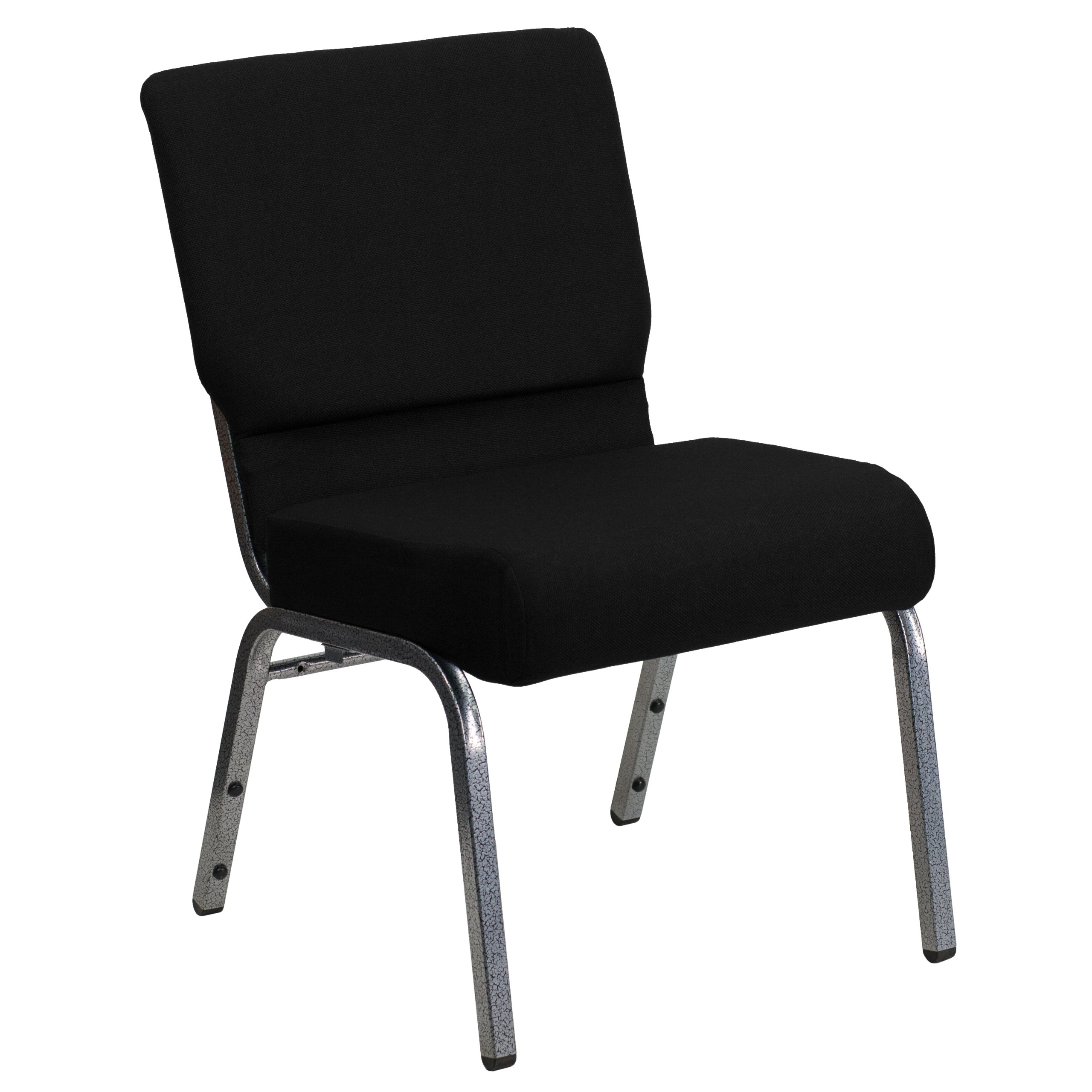 Flash Furniture HERCULES Series 21''W Stacking Church Chair in Black Fabric - Silver Vein Frame by Flash Furniture