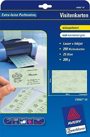 Avery Zweckform C32022 25 25 Blatt Visitenkarten Unbeschichtet Pastellgrün Marmoriert 185 G 85 X 54 Pastellgrün Mikroperforiert