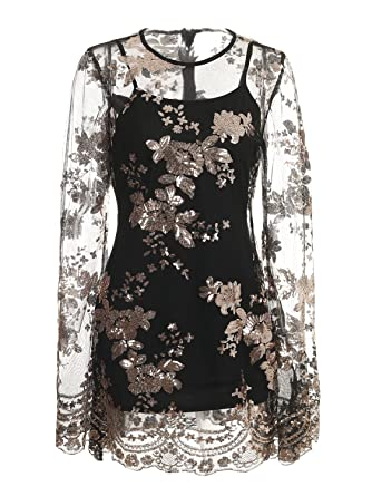 0997b1e678d Missy Chilli Women s Elegant Mesh Floral Sequin Flare Sleeve Transparent  Two Piece Mini Dress Black 8