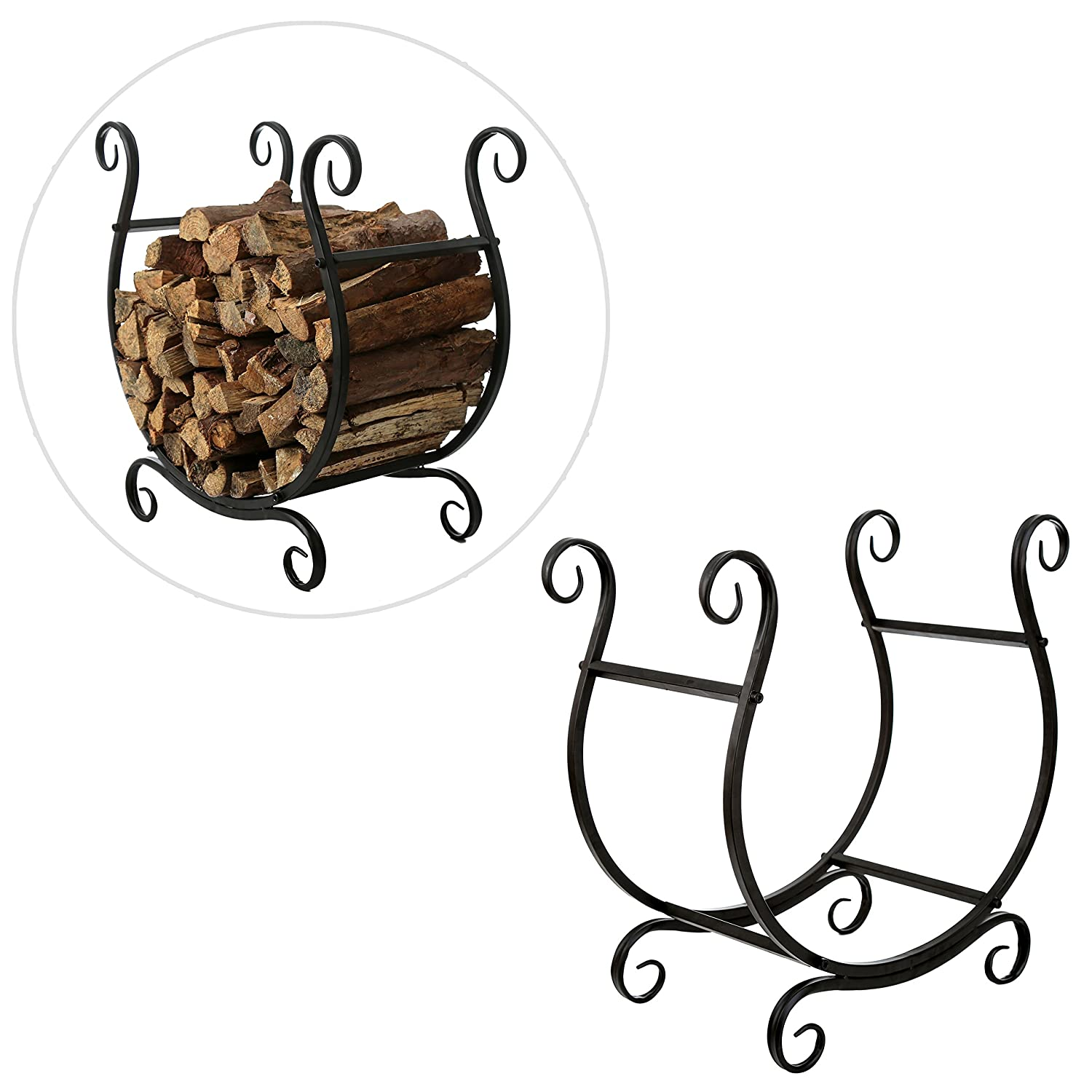 MyGift Scrollwork Firewood Rack, Freestanding Fireside Log Storage Holder, Black