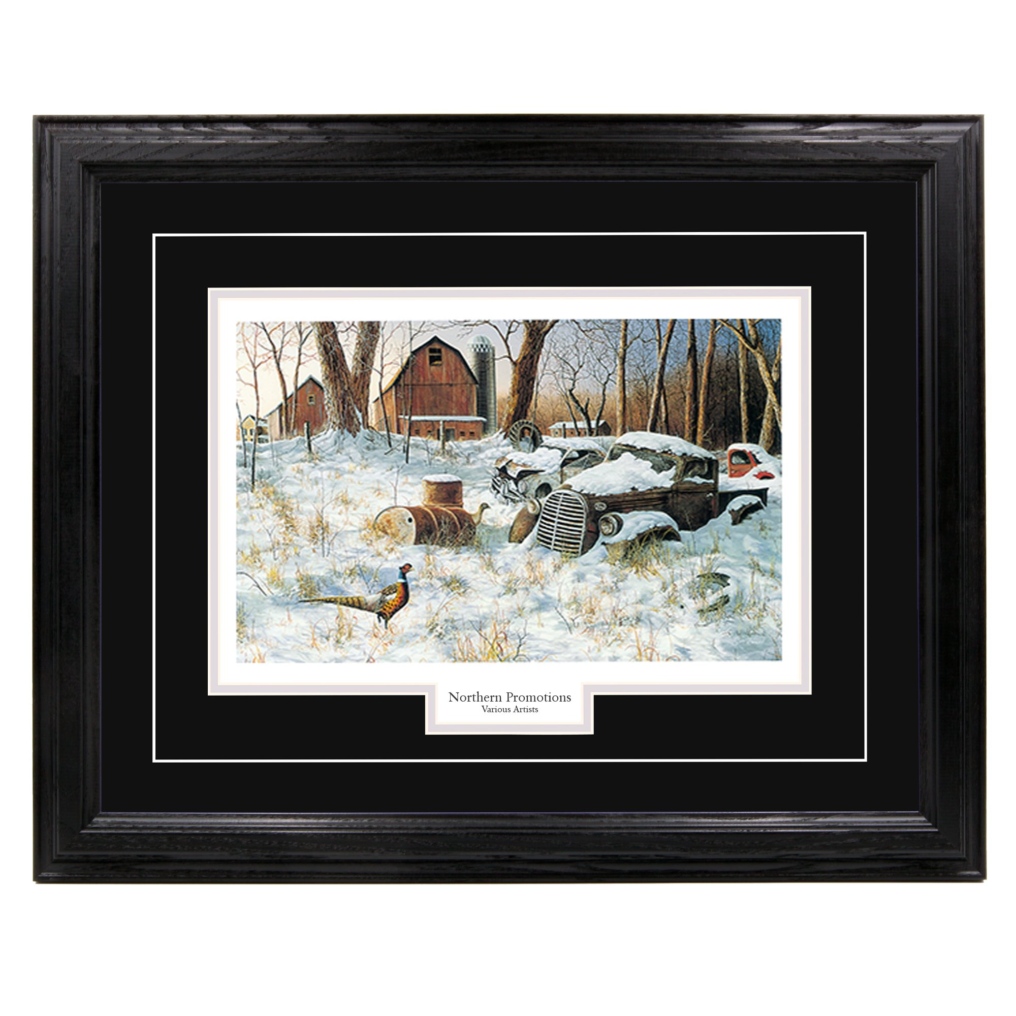 ''Winter Haven'' - Jim Hansel, Pheasants in Winter Wall Art Print for Home / Office / Hotel / Cabin / Gift, Framed 30 x 40 in., Black Mat / Black Frame – More Frames Available