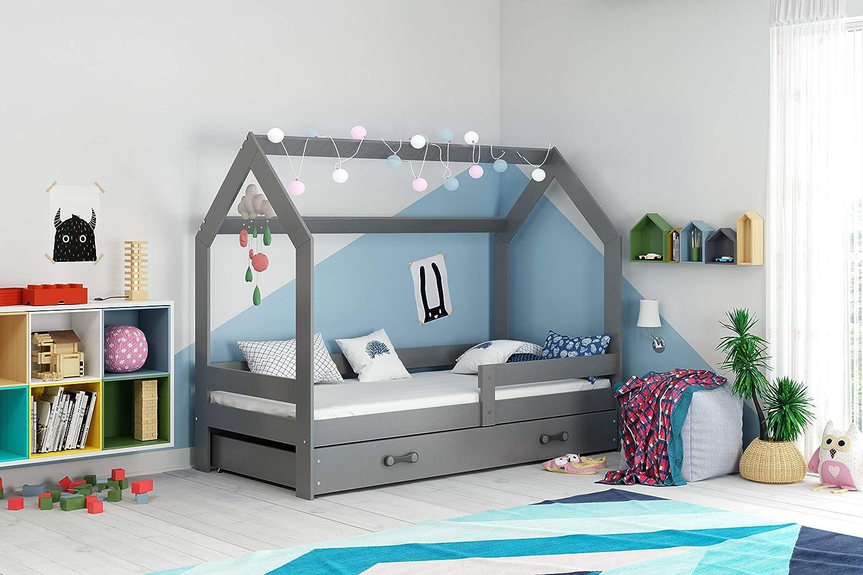 Hausbett Kinderbett DOMEK 160x80cm aus Kiefernholz mit Lattenrost und Matratze braun + braune Schublade
