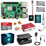 LABISTS Raspberry Pi 4 Complete Starter Kit with Pi 4 Model B 4GB RAM Board, 64GB Micro SD Card Preloaded Noobs, 5V 3A Power Supply, Case, HDMI Cable, SD Card Reader (USB A&USB C), Fan, Heatsinks