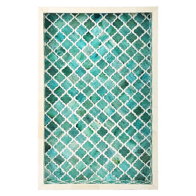 Bandeja decorativa para desayuno de Handicrafts Home, mesita de café, diseño árabe; marroquí, hecha a mano con incrustaciones de hueso natural, bandeja para ...