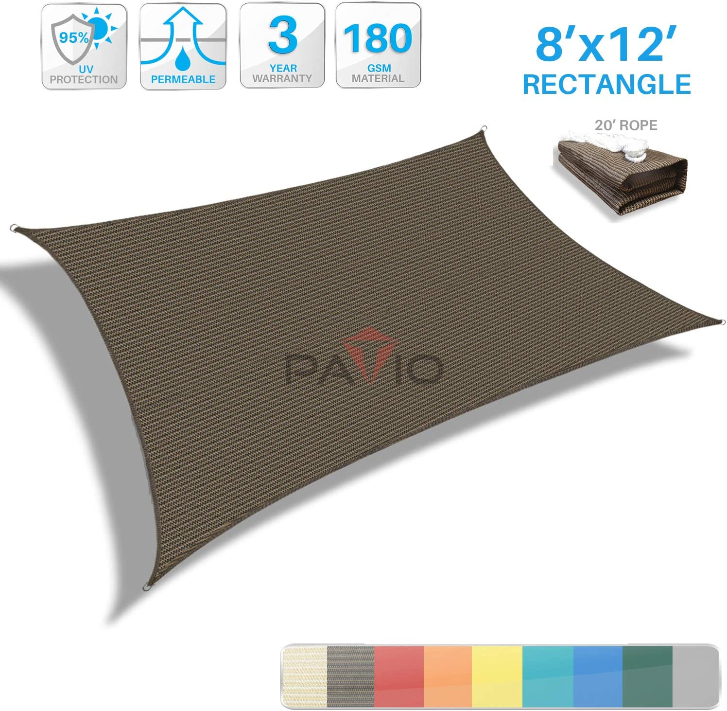 Patio Paradise 8' x 12' Brown Sun Shade Sail Rectangle Canopy - Permeable UV Block Fabric Durable Outdoor - Customized Available