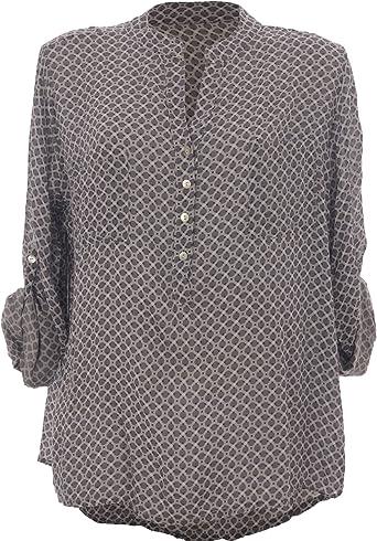 Moda Italy - Camisas - corte imperio - Lunares - cuello mao - Manga Larga - para mujer gris 44: Amazon.es: Ropa y accesorios