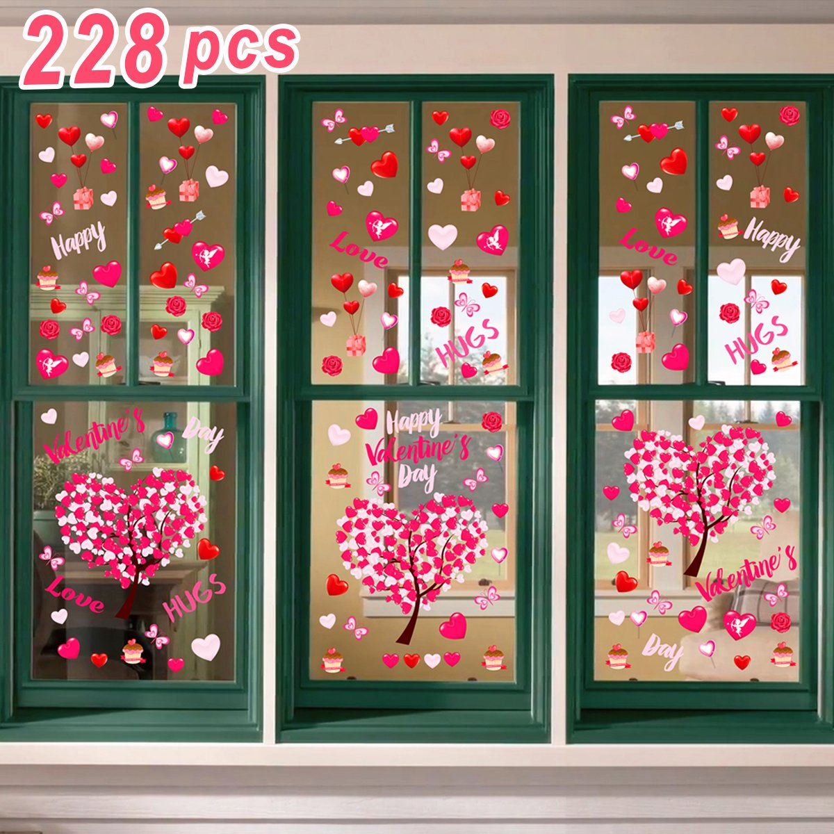 Ivenf 4ft x 4ft Extra Large Heart Valentine's Day Window Clings Decorations, Kids School Home Office Valentines Hearts Accessories Birthday Party Supplies Gifts, Pink Set