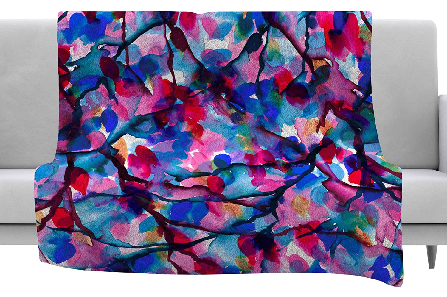 40 x 30 Fleece Blanket Kess InHouse EBI Emporium by Any Other Name 2 Blue Red Watercolor Throw