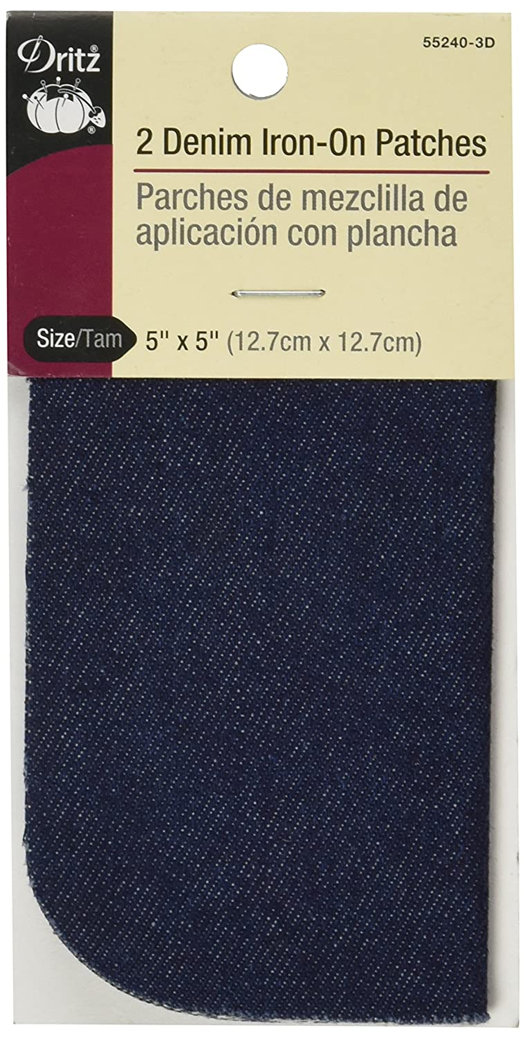 Dritz 55240-3D Denim Iron-On Patches, Dark Blue, 5 by 5-Inch, 2-Pack Prym Consumer USA