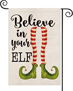 AVOIN Believe in Your Elf Garden Flag Vertical Double Sized, Christmas Winter Holiday Shoes Bell Yard Outdoor Decoration 12.5 x 18 Inch