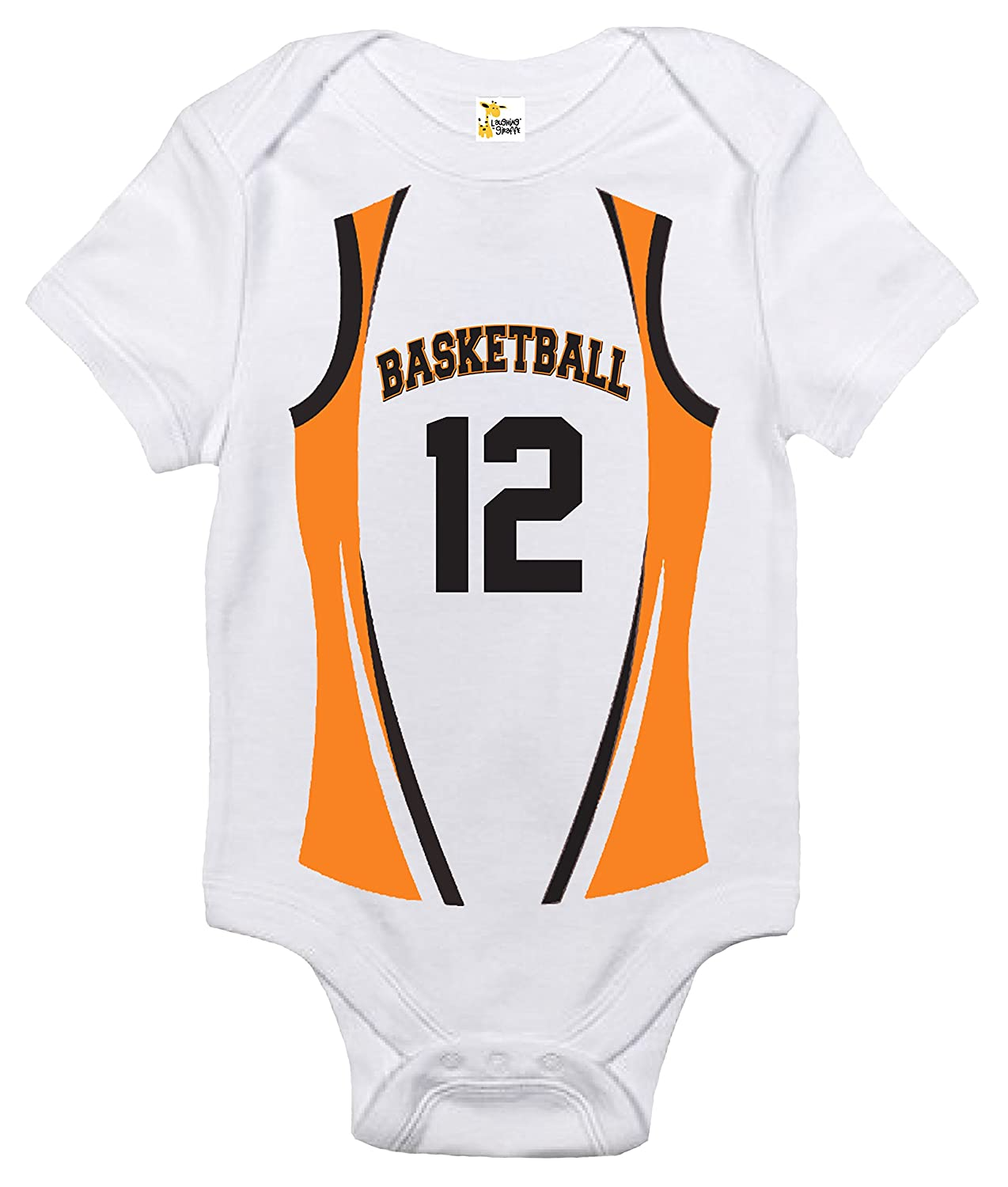 b8f4f741d7f4 Amazon.com  Basketball Custom Personalized Front and Back Baby Bodysuit  Cute Baby Clothes  Clothing